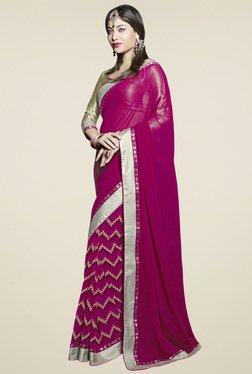 Saree Mall Magenta Printed Saree With Blouse