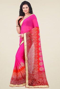 Saree Mall Pink & Maroon Printed Saree