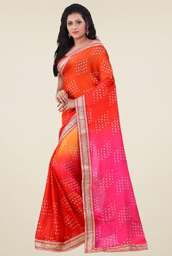 Saree Mall Pink & Orange Printed Saree