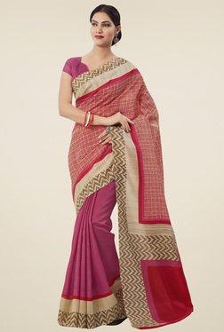 Saree Mall Pink Printed Tussar Silk Saree