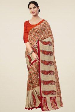 Saree Mall Beige & Orange Soft Silk Saree