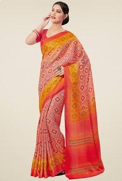 Saree Mall Pink & Orange Printed Pashmina Silk Saree