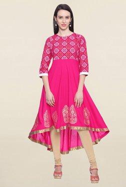 Mytri Pink Printed Rayon Anarkali Kurti