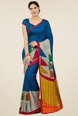 Saree Mall Blue Pashmina Silk Saree