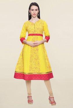 Mytri Yellow Printed Cotton Anarkali Kurta