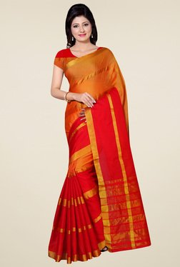 Saree Mall Red & Orange Art Silk Saree