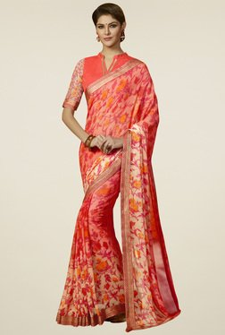 Saree Mall Pink Floral Printed Saree