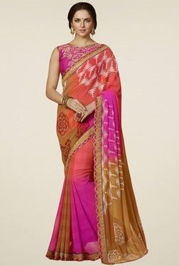 Saree Mall Pink & Yellow Printed Saree