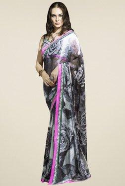 Saree Mall Black & White Printed Saree