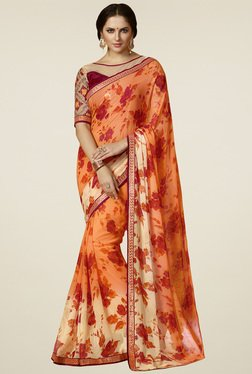 Saree Mall Orange Floral Printed Saree