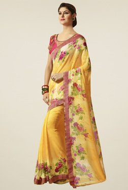 Saree Mall Yellow Floral Printed Saree