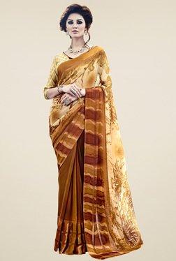 Saree Mall Beige & Brown Printed Saree