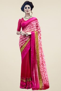 Saree Mall Pink & Off-white Printed Saree