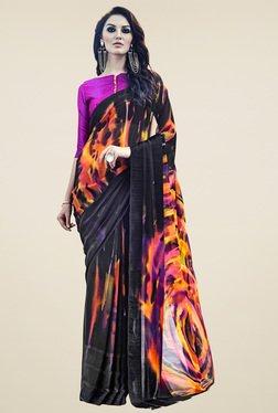 Saree Mall Black & Orange Printed Saree