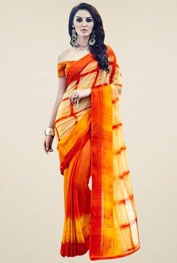 Saree Mall Cream & Orange Printed Saree