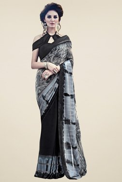 Saree Mall Black & Grey Printed Saree