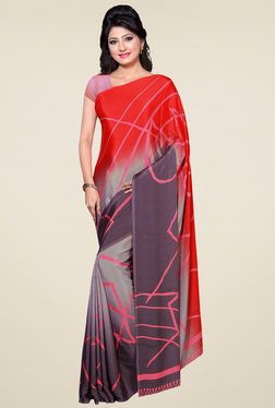 Saree Mall Red & Grey Printed Saree