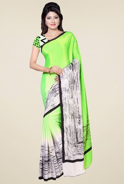 Saree Mall Green & Off-white Printed Saree