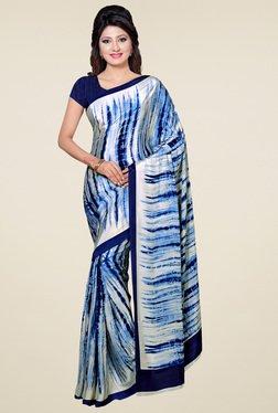 Saree Mall Cream & Blue Printed Saree