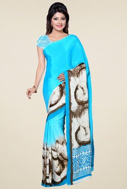 Saree Mall Sky Blue Printed Saree