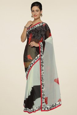 Saree Mall Black & White Printed Saree With Blouse