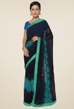 Saree Mall Navy Printed Saree With Blouse
