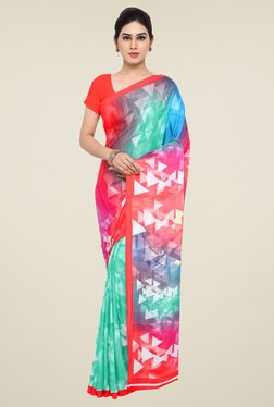 Saree Mall Red & Teal Green Printed Saree