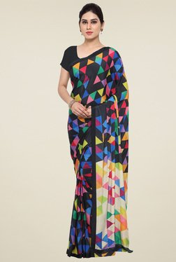 Saree Mall Black Printed Saree With Blouse