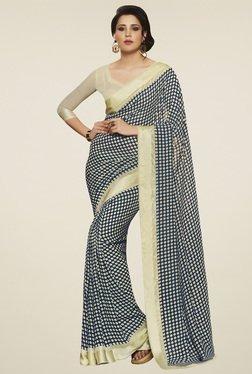 Saree Mall Navy & Cream Printed Saree