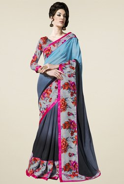 Saree Mall Grey & Sky Blue Floral Saree
