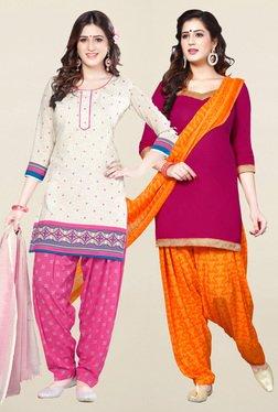 Salwar Studio Cream & Pink Synthetic Unstitched Patiala Suit