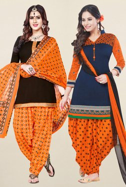 Salwar Studio Brown & Navy Synthetic Unstitched Patiala Suit