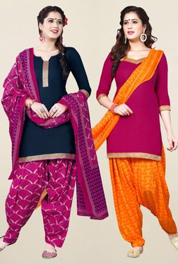 Salwar Studio Navy & Pink Synthetic Unstitched Patiala Suit