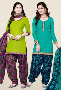 Salwar Studio Green & Sea Green Unstitched Patiala Suit