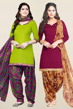 Salwar Studio Green & Wine Synthetic Unstitched Patiala Suit