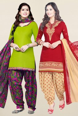 Salwar Studio Green & Red Synthetic Unstitched Patiala Suit - Mp000000001241377