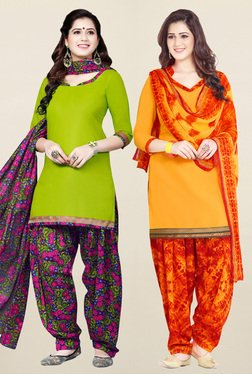 Salwar Studio Green & Yellow Unstitched Patiala Suit