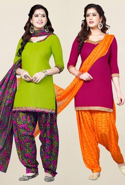 Salwar Studio Green & Pink Synthetic Unstitched Patiala Suit