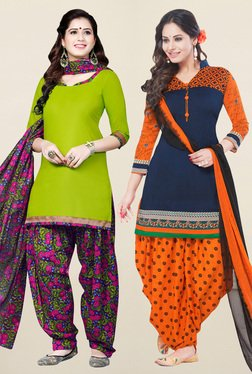 Salwar Studio Green & Navy Synthetic Unstitched Patiala Suit