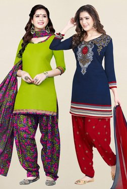 Salwar Studio Green & Navy Synthetic Unstitched Patiala Suit - Mp000000001241461