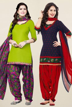 Salwar Studio Green & Navy Synthetic Unstitched Patiala Suit - Mp000000001241468
