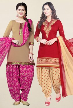 Salwar Studio Beige & Red Synthetic Unstitched Patiala Suit