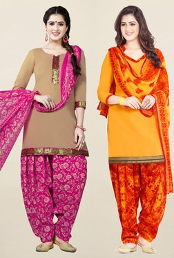 Salwar Studio Beige & Yellow Unstitched Patiala Suit