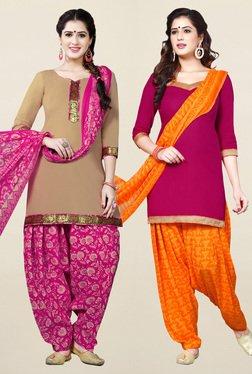 Salwar Studio Beige & Pink Synthetic Unstitched Patiala Suit