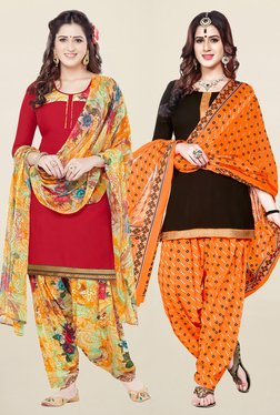 Salwar Studio Red & Brown Synthetic Unstitched Patiala Suit
