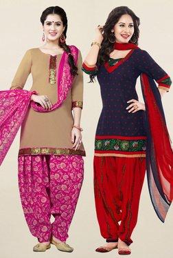 Salwar Studio Beige & Navy Synthetic Unstitched Patiala Suit