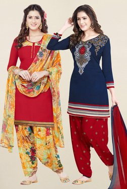 Salwar Studio Red & Navy Synthetic Unstitched Patiala Suit