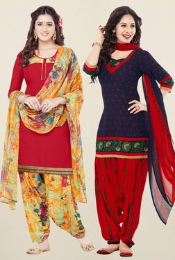 Salwar Studio Red & Navy Synthetic Unstitched Patiala Suit - Mp000000001241664