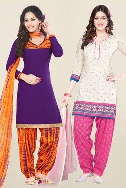 Salwar Studio Purple & Cream Unstitched Patiala Suit