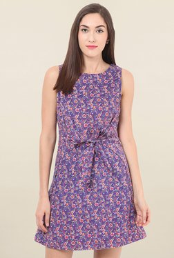 Label VR Purple Floral Print Dress